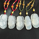 Classic Design Bag Buddha Shape Ice Agate Pendant Necklace with Adjustable Cord ( You can choose one from five pendants )