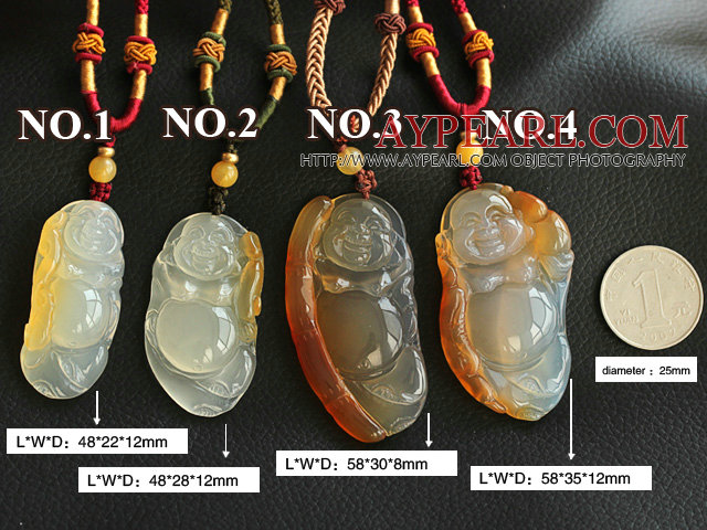 Bag Buddha Shape Ice Agate Pendant Necklace with Adjustable Cord ( You can choose one from four pendants )