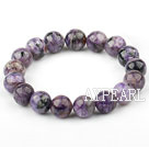 12mm Round Natural Charoite Elastic Bangle Bracelet
