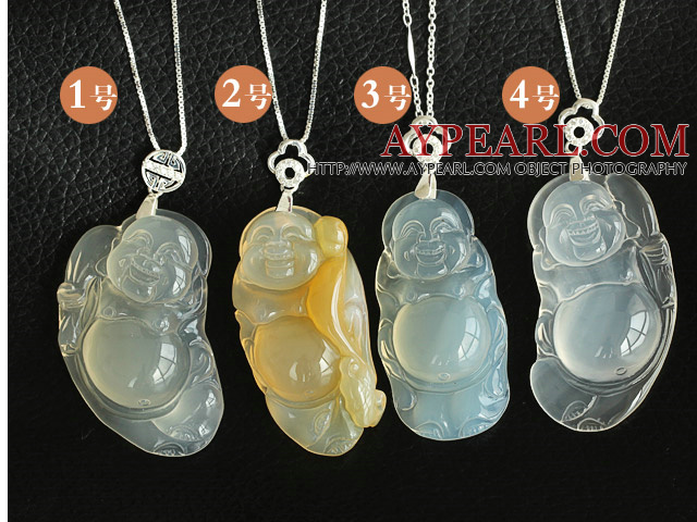 Fashion Buddha Shape Ice Agate Pendant Necklace With 925 Sterling Silver Chain Accessories ( You Can Choose One From Four Pendants)