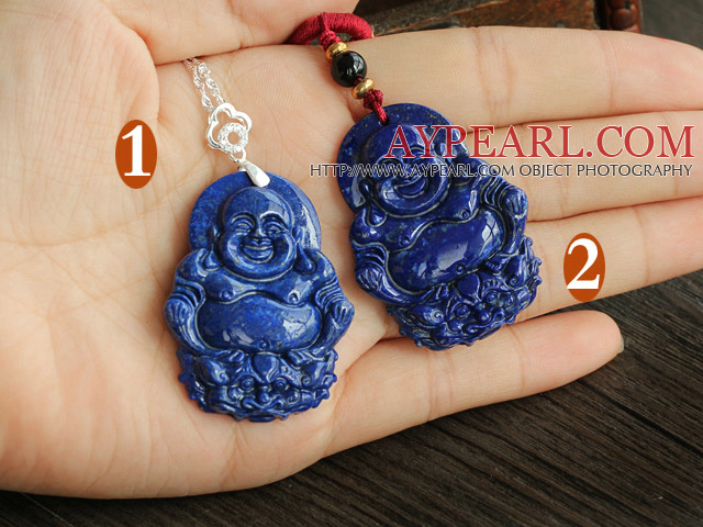 Fashion Lapis Buddhu Pendant Necklace With Sterling Silver Accessories (You Can Choose From 2 Pendants)