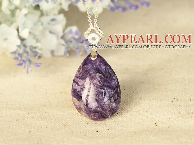 Classic Drop Shape Charoite Pendant Necklace With 925 Sterling Silver Chain Accessories