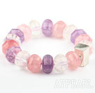 Pink Series Natural Rose Quartz and Amethyst and Clear Crystal Elastic Bangle Bracelet with Thailand Silver Accessory