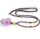 Ametrine Pi Xiu And Yellow Jade Pendant Necklace With Suede Adjustable Cords
