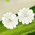 Beautiful White Shell Fleur Zircon Sterling Silver Studs Eearrings