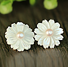 Fashion White Pearl And Shell Flower Sterling Silver Studs Eearrings