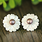 Fashion Pearl and White Shell Flower Studs Eearrings With Sterling Silver Accessories