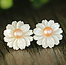 Fashion Pink Pearl and White Shell Flower Studs Eearrings With Sterling Silver Accessories