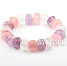 Pink Series Natural Rose Quartz and Amethyst and Clear Crystal Elastic Bangle Bracelet