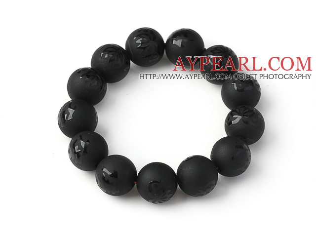 Fashion Natural Dull-Polish Black Agate With Engraved Buddhu Lotus Rosary Beads Bracelet For Man