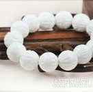 14mm Natural Carved Lotus White Sea Shell Elastic Bangle Bracelet