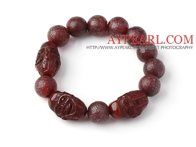 Nice Natural Xinjiang Raisins Original Red Agate Rosary Bracelet With Buddhu Head