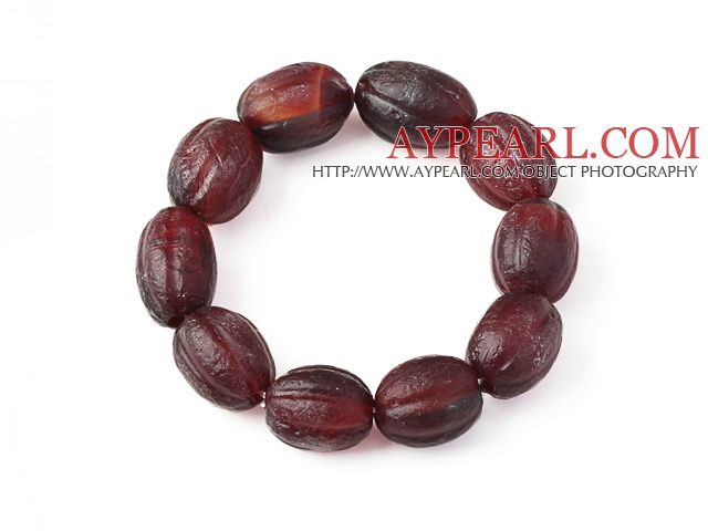 Fashion Natural Pumpkin Shape Original Red Agate Rosary Bracelet