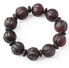 Fashion Pumpkin Shape Natural Original Red Agate Rosary Beads Bracelet