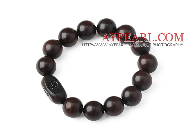 Fashion Jujube Wood Rosary Beads Bracelet With Engraved Chinese Lucky Words