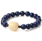 Wholesale Fashion Round Lapis Ivory Nut And Garnet Beaded Stretch Bangle Bracelet
