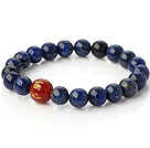 Vakre Runde Lapis og skrives Red Agate Beaded Stretch Bangle Bracelet