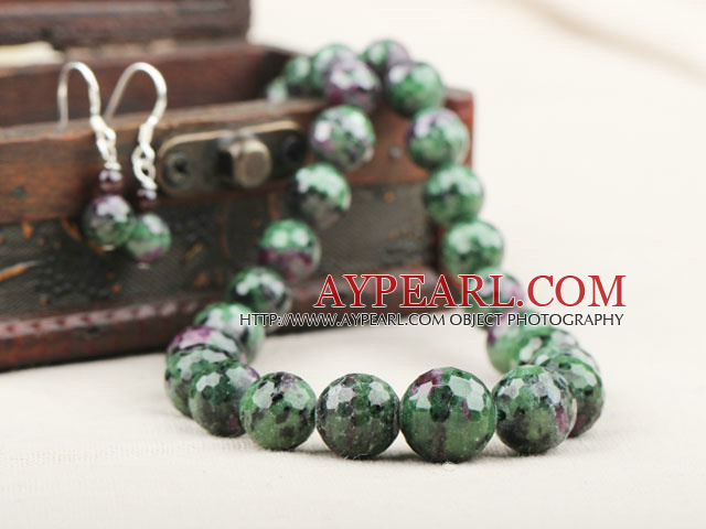 Natural Faceted Zoisite Stone Beaded Set ( Necklace and Matched Earrings )