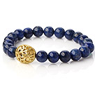 Fashion 8mm Round Lapis Stone Beaded Stretch Bangle Bracelet With Hollow Golden Ball