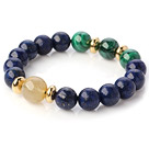 Wholesale Fashion Round Lapis Malachite And Gold Rutilated Quartz Beads Stretch Bangle Bracelet With Golden Spacers