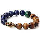 Wholesale Fashion Round Lapis And Double Color Tiger Eye Stretch Bangle Bracelet With Tibetan Type Beads