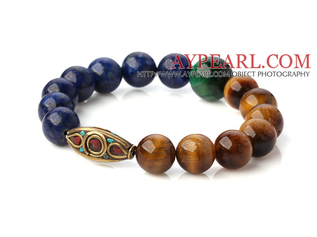 Fashion Round Lapis And Double Color Tiger Eye Stretch Bangle Bracelet With Tibetan Type Beads