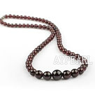 Natural Round Garnet Graduated Beaded Necklace