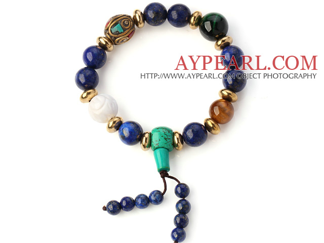 Fashion Round Lapis Green Turquoise And Tiger Eye White Shell Beads Stretch Bracelet With Tibetan Charms