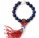 Wholesale Fashion Round Lapis Tiger Eye And Lotus White Shell Beads Stretch Bracelet With Red Agate Tassels