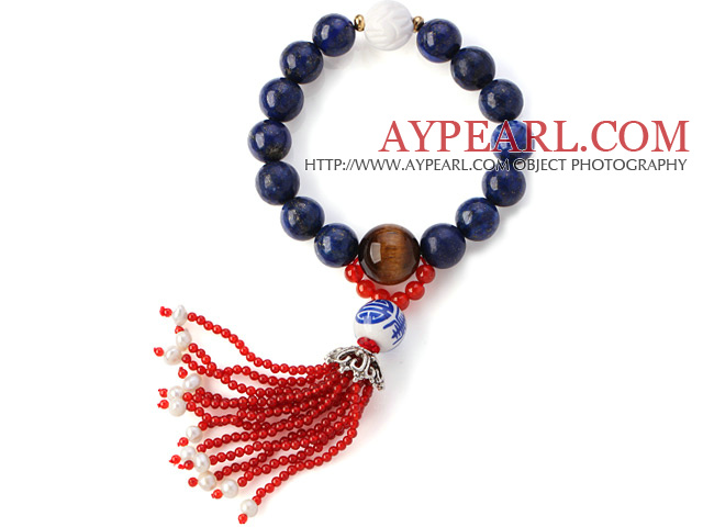 Fashion Round Lapis Tiger Eye And Lotus White Shell Beads Stretch Bracelet With Red Agate Tassels