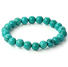 Popular 8mm Round Green Turquoise Beaded Stretch Bangle Bracelet