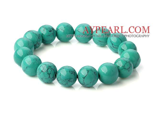 Popular 12mm Round Green Turquoise Beaded Stretch Bangle Bracelet