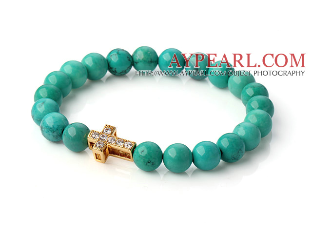 Popular Round Green Turquoise Beaded Stretch Bracelet With Gold Plated And Inlayed Zircon Cross