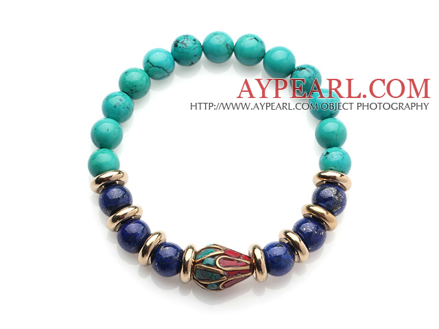 Fashion Round Xinjiang Green Turquoise And Lapis Beads Stretch Bracelet With Tibetan Charms