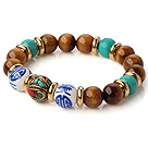 Popular Round Xinjiang Green Turquoise Tiger Eye And Porcelain Beads Stretch Bracelet With Tibetan Charm