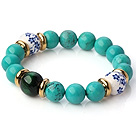 Wholesale Popular Round Xinjiang Green Turquoise Tiger Eye And Porcelain Beads Stretch Bracelet