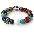 Popular Multi Round Green Turquoise Lapis Tiger Eye Red Agate And Porcelain Beads Stretch Bracelet