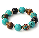 Wholesale Fashion Round Xinjiang Green Turquoise Tiger Eye And Black Agate Beaded Stretch Bracelet