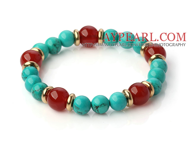 Fashion Round Xinjiang Green Turquoise And Red Agate Beaded Stretch Bracelet