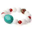 Fashion Round Red Coral Green Turquoise And White Lotus Shell Beads Stretch Bracelet With Tibetan Charm