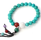 Wholesale Fashion Round Xinjiang Green Turquoise Agate Malachite Tiger Eye And White Shell Beads Tassel Bracelet