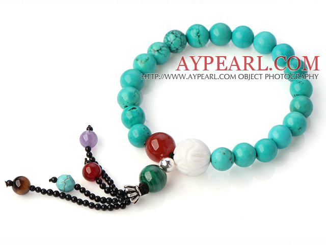 Fashion Round Xinjiang Green Turquoise Agate Malachite Tiger Eye And White Shell Beads Tassel Bracelet