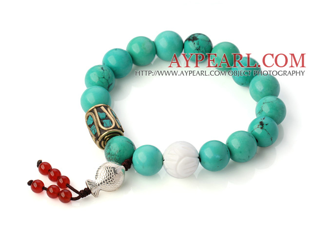 Fashion Round Xinjiang Green Turquoise And White Shell Beads Bracelet With 925 Silver Fish And Red Agate Pendants