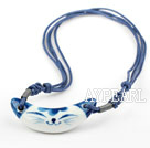 Hand-painted Blue and White Porcelain Cat Shape Pendant with Adjustable Thread