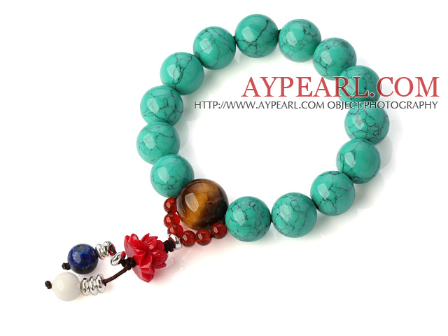 Pretty Round Xinjiang Green Turquoise Tiger Eye Red Agate And Lotus Lapis White Shell Stretch Bracelet