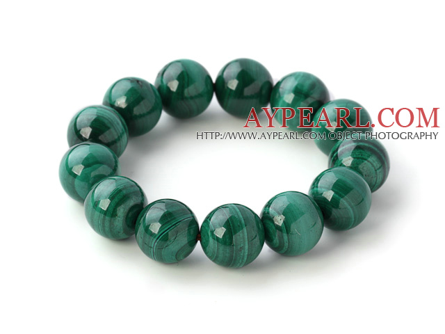 Nice Natural Round 14mm Malachite Beaded Elastic Bangle Bracelet