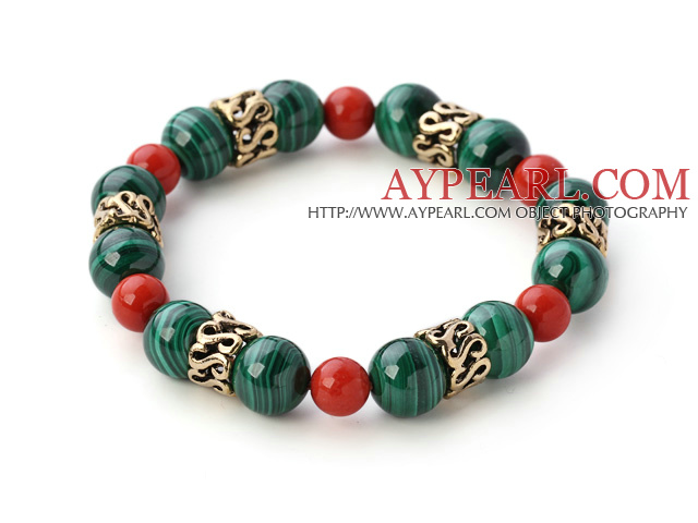 Fashion Natural Round Malachite And Taiwan Red Coral Beaded Bracelet With Gold Ring Charms
