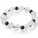 Beautiful Natural White Crystal And Round Malachite Beaded Elastic Bracelet