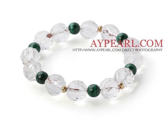 Beautiful Natural White Crystal And Round Malachite Beaded Elastic Bracelet