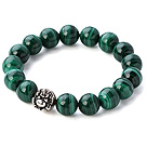 Nice Natural Round 10mm Malachite Beads Elastic Bracelet With 925 Sterling Silver Elephant